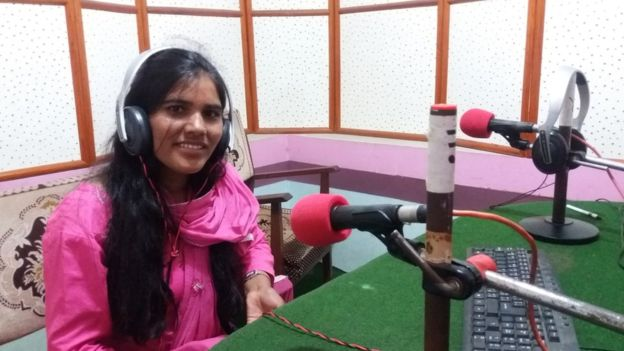 Image caption Krishnamaya has educated herself about chhaupadi through her work as a radio journalist